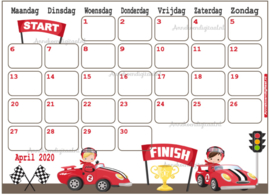 April 2020 kalender serie Jongens