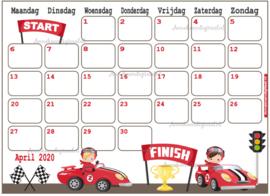 Babyshower maandkalender thema Racewagens