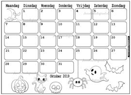 Oktober 2019 kalender thema Kleurplaat