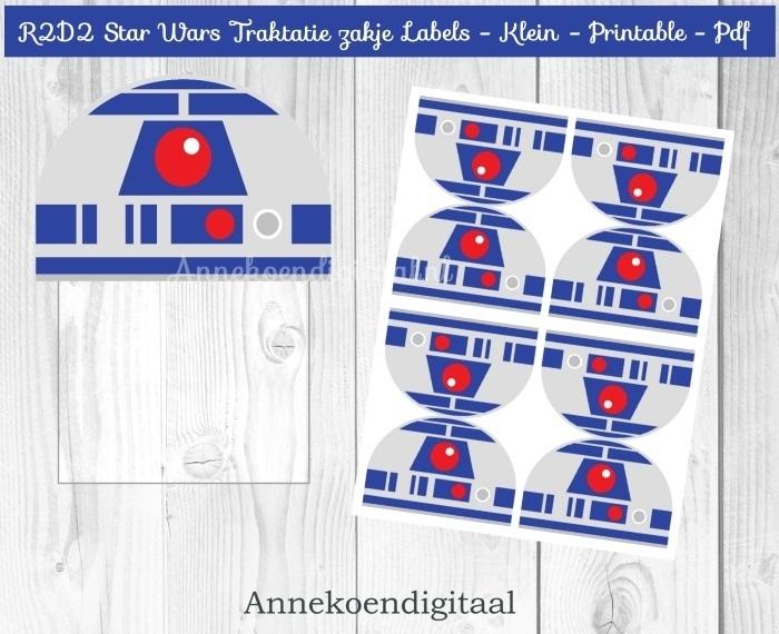 R2D2 Star Wars traktatie zakje label
