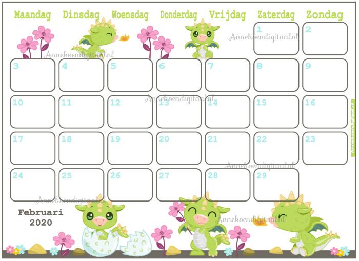 Februari 2020 kalender thema Dieren