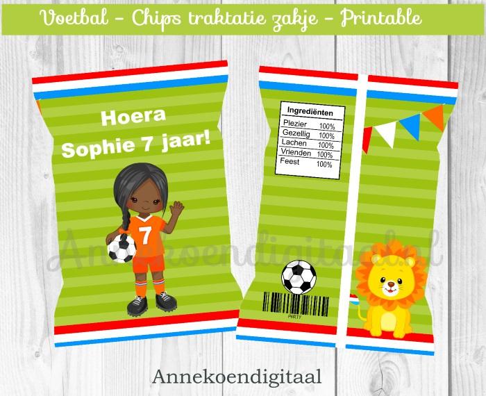 Voetbal meisje chips traktatie zakje (3)