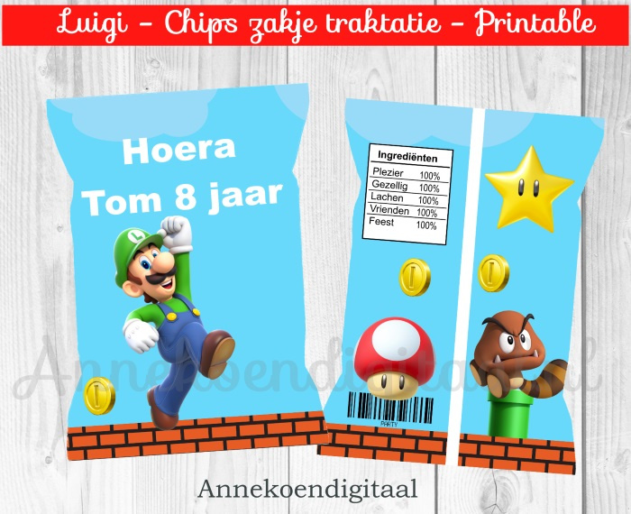 Luigi chips traktatie zakje