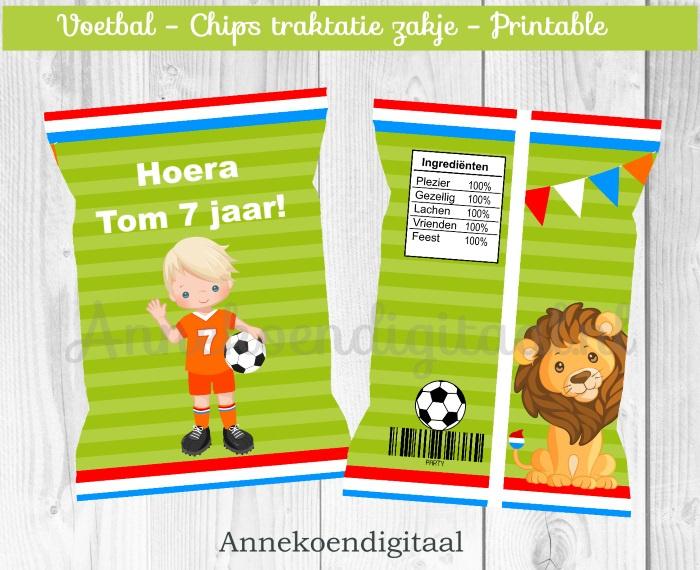 Voetbal jongen chips traktatie zakje (2)