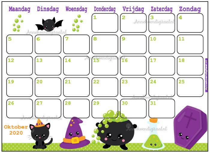 Oktober 2020 kalender serie Kawaii