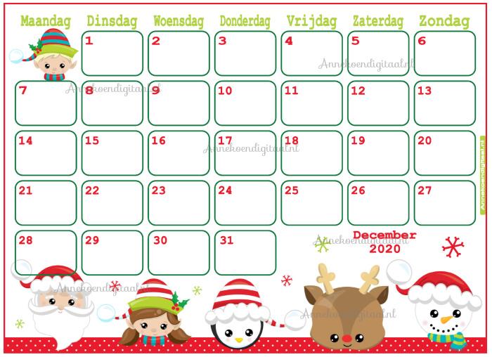 December 2020 kalender serie Kawaii