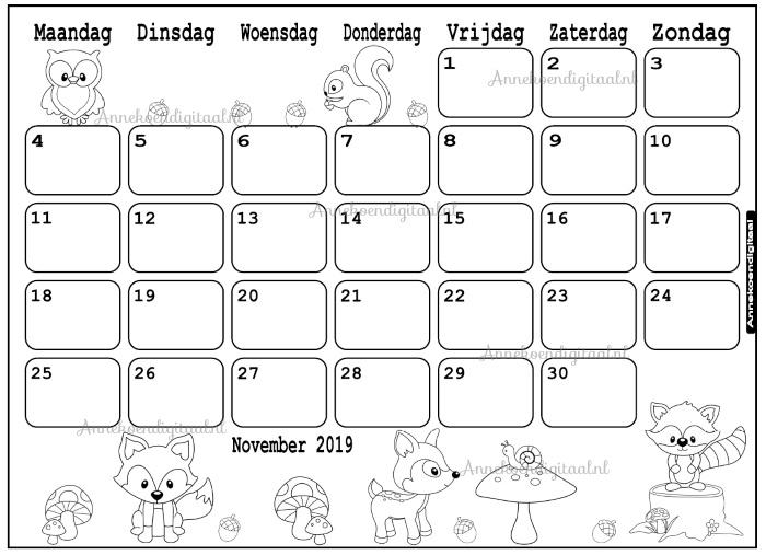 Kleurplaten Van Bosdieren.November 2019 Kalender Thema Kleurplaat Kleurplaat Kalender