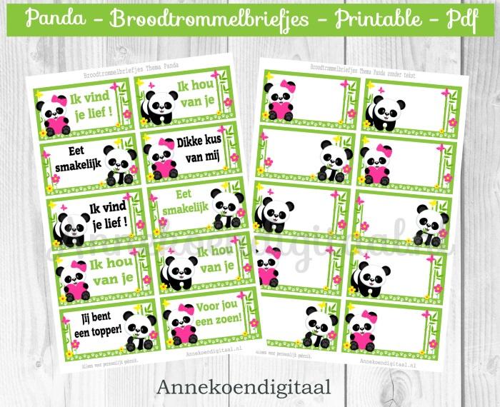 Broodtrommelbriefjes thema Panda