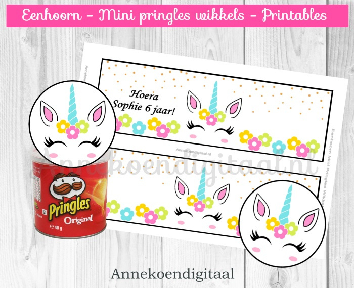 Eenhoorn gezicht Mini Pringles Wikkels