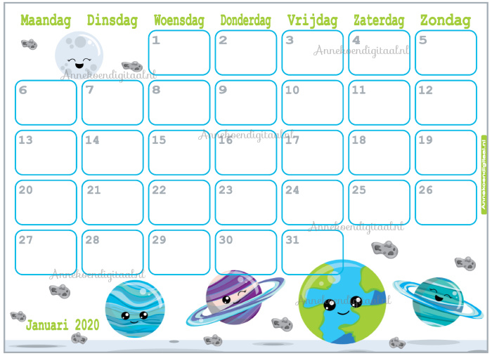 Januari 2020 kalender serie Kawaii