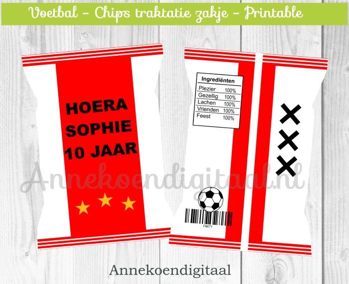Voetbal Ajax chips traktatie zakje