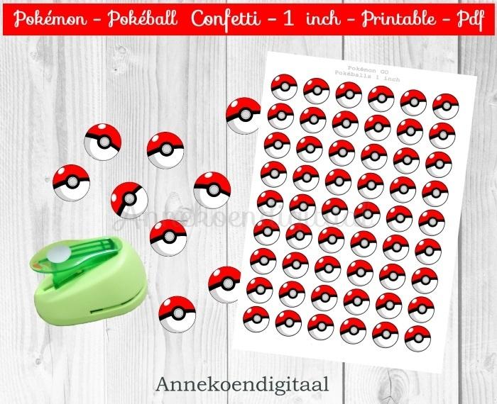 Pokemon Pokeballs Confetti 1 inch