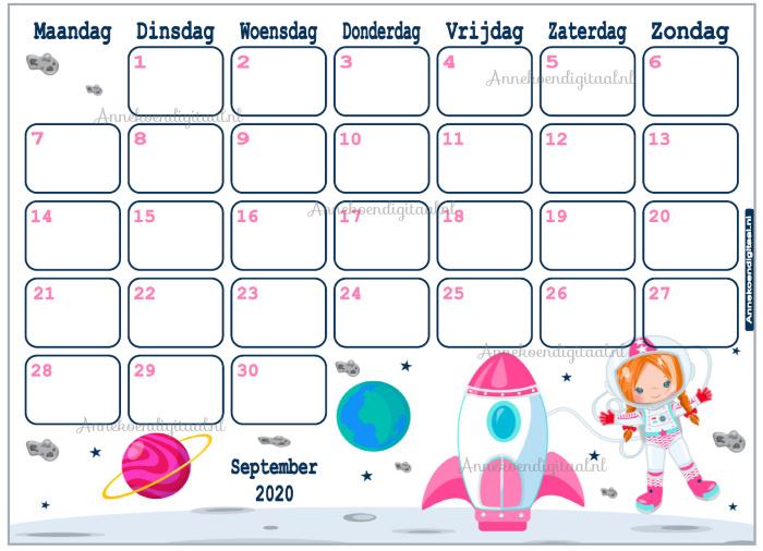 September 2020 kalender serie Meisjes