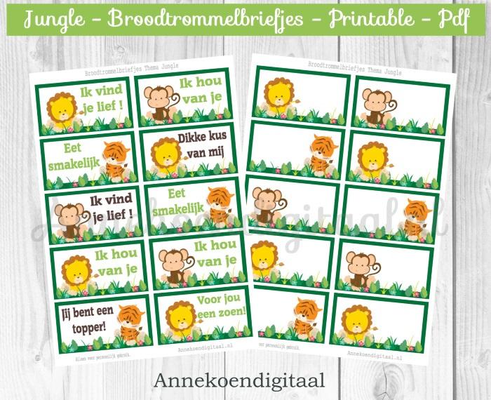 Broodtrommelbriefjes thema Jungle