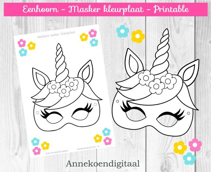 Eenhoorn Masker kleurplaat  GRATIS printable