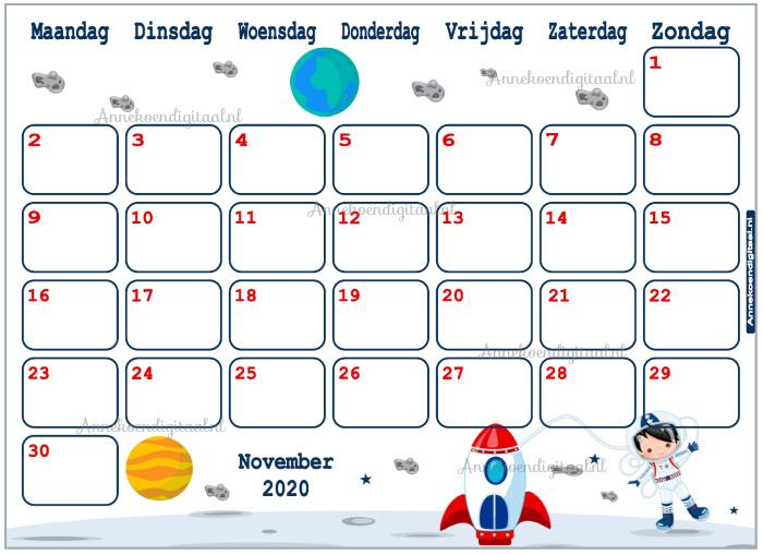 November 2020 kalender serie Jongens