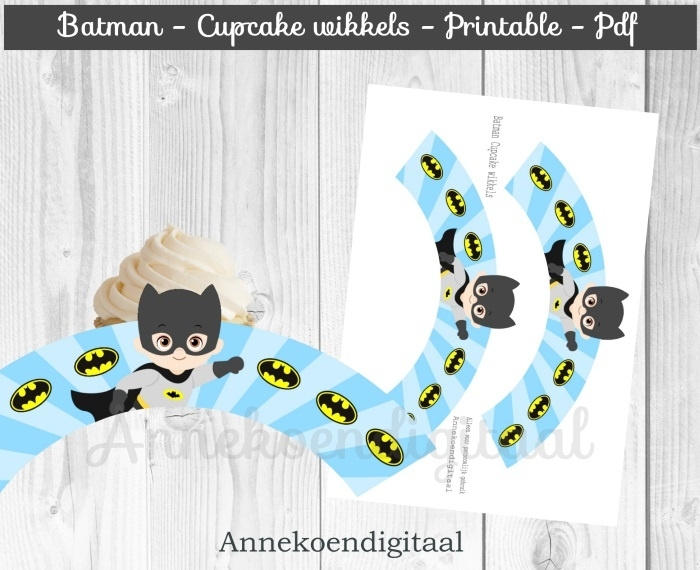 Batman cupcake wikkels