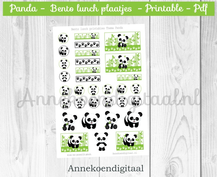 Bento plaatjes thema Panda