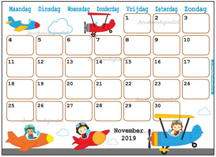 November 2019 kalender serie Jongens