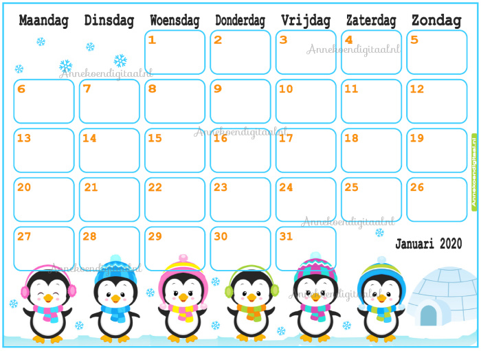 Januari 2020 kalender thema Dieren
