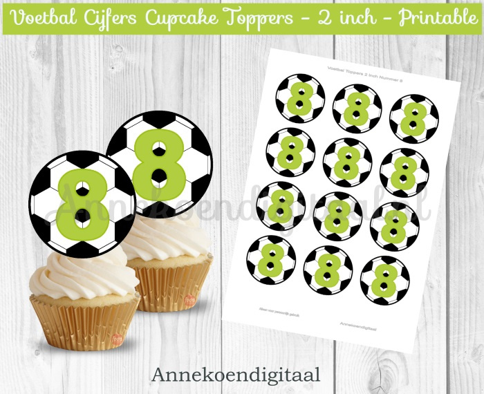Voetbal Cupcake toppers cijfer