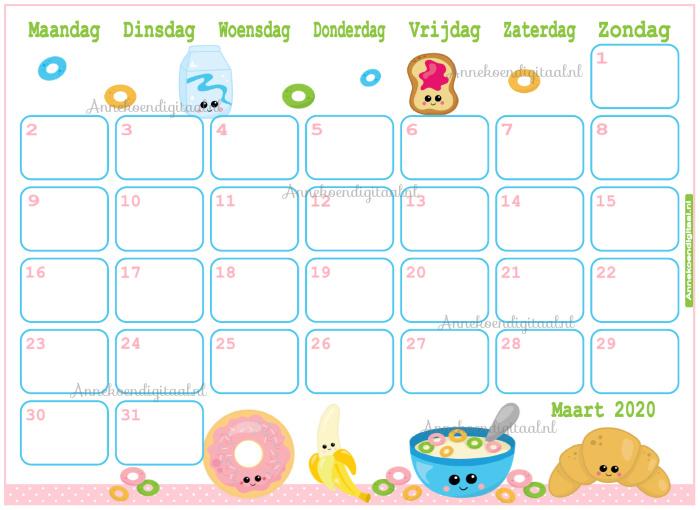 Maart 2020 kalender serie Kawaii