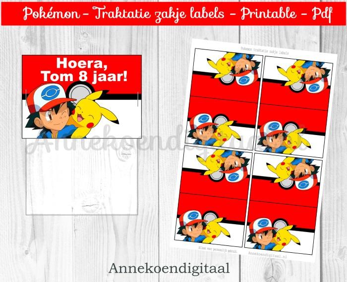 Pokemon traktatie zakje label