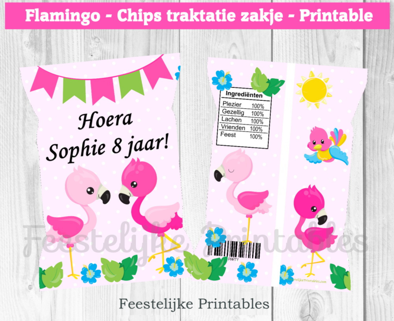 Flamingo chips traktatie zakje