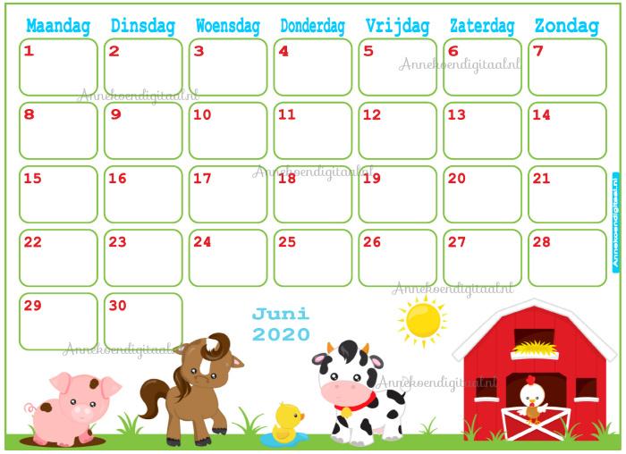 Juni 2020 kalender serie Dieren