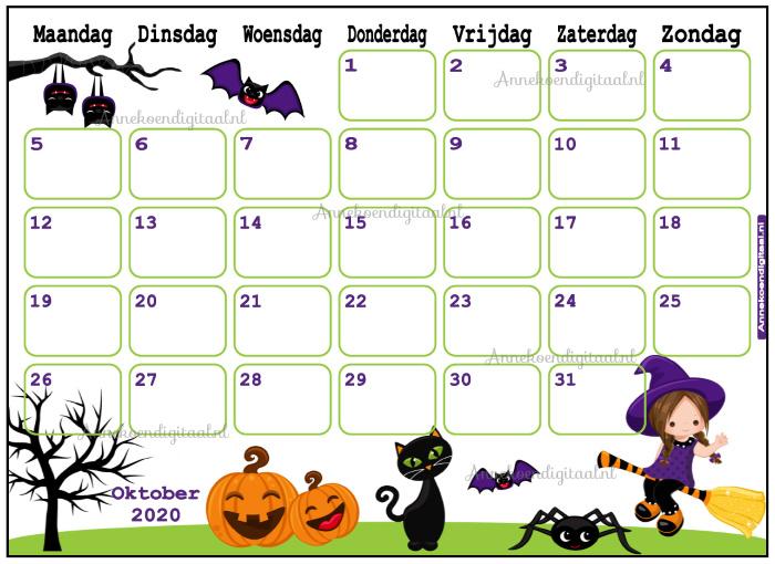 Oktober 2020 kalender serie Meisjes