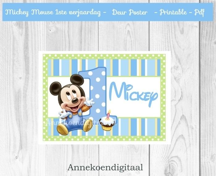 Mickey Mouse 1ste verjaardag Deur poster