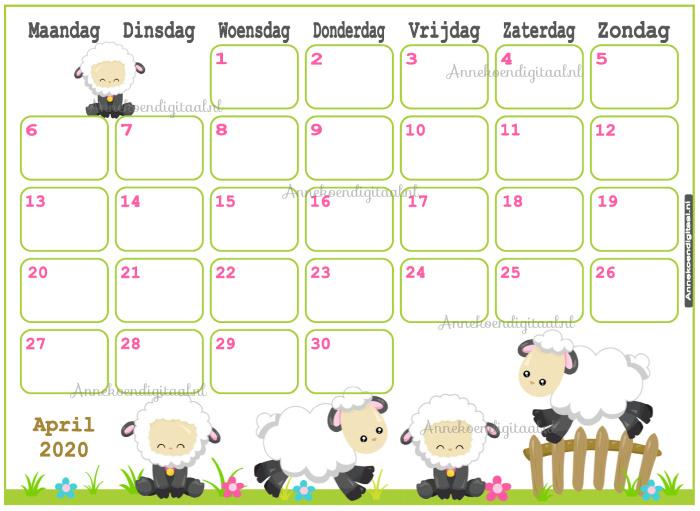 April 2020 kalender serie Kawaii