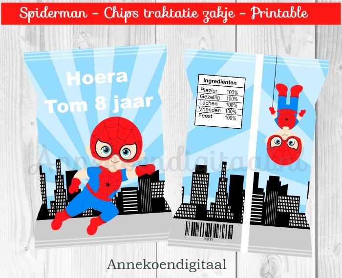 Spiderman chips traktatie zakje