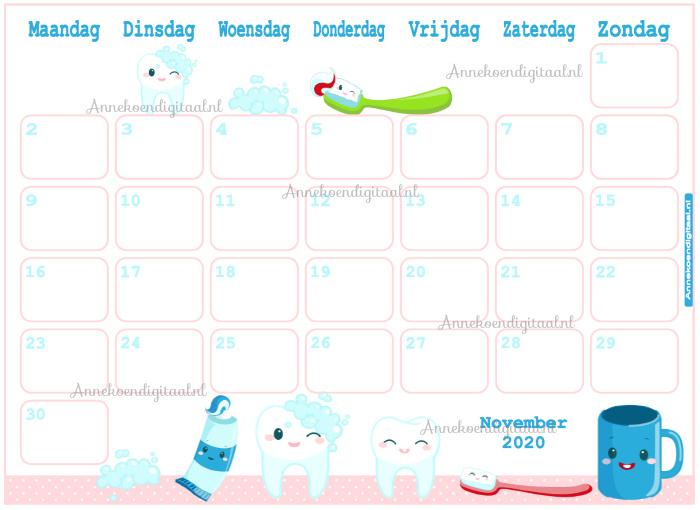 November 2020 kalender serie Kawaii