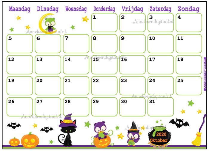 Oktober 2020 kalender serie Dieren