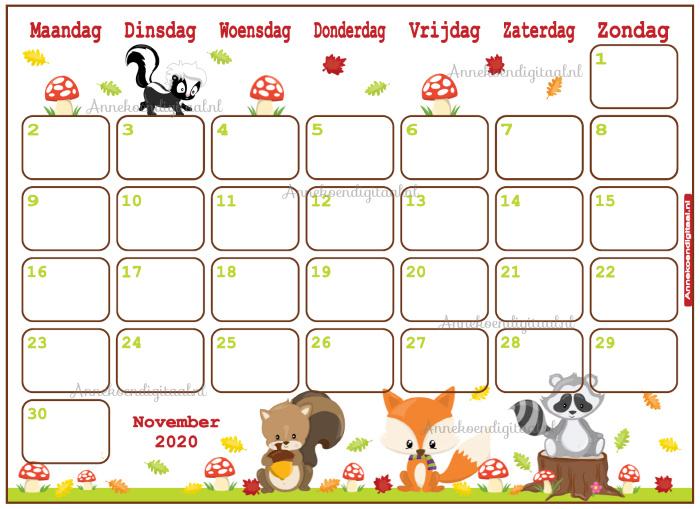 November 2020 kalender serie Dieren