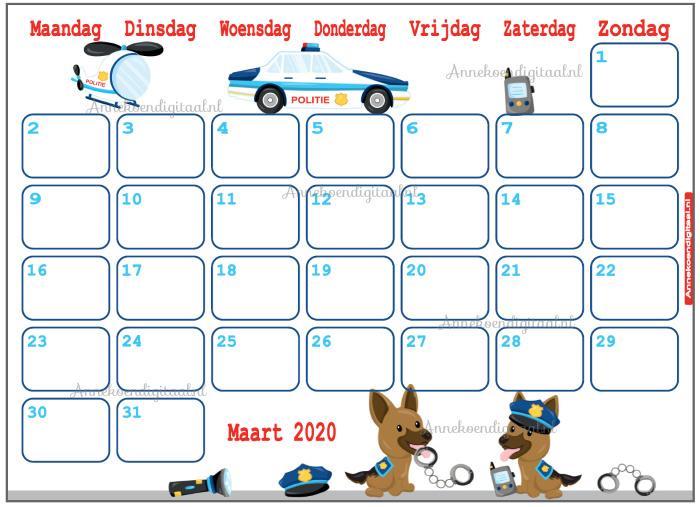Maart 2020 kalender serie Jongens