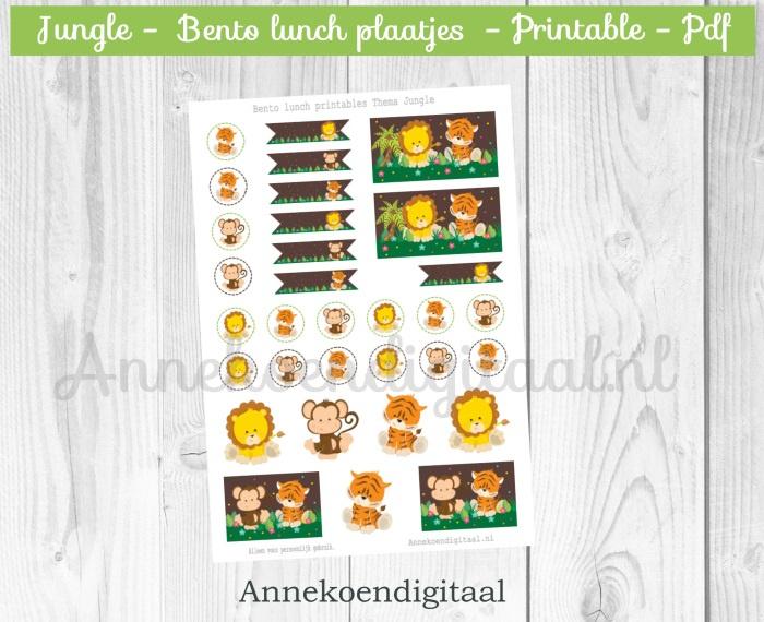 Bento plaatjes thema Jungle