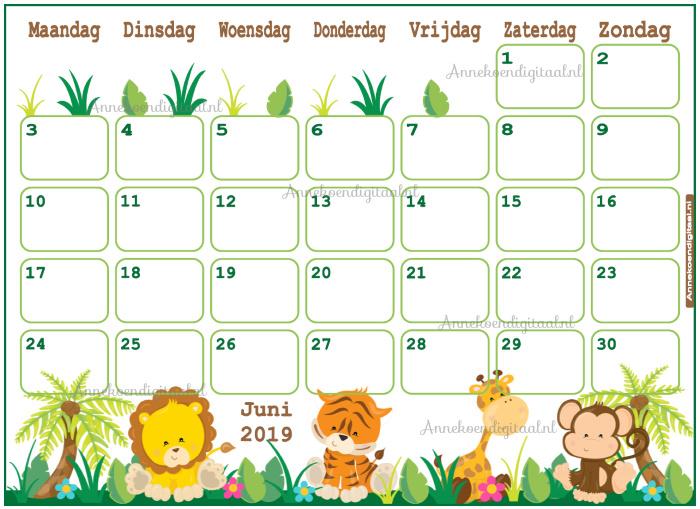 Babyshower maandkalender thema Jungle Groen