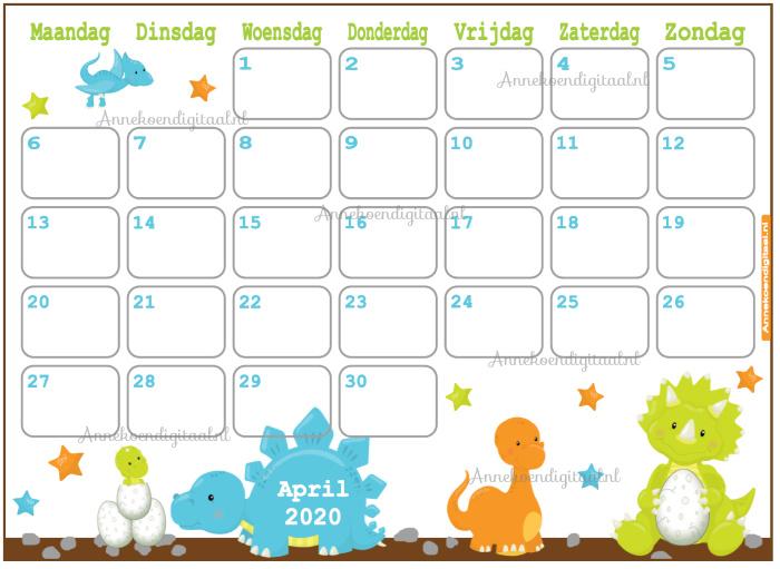 April 2020 kalender thema Dieren