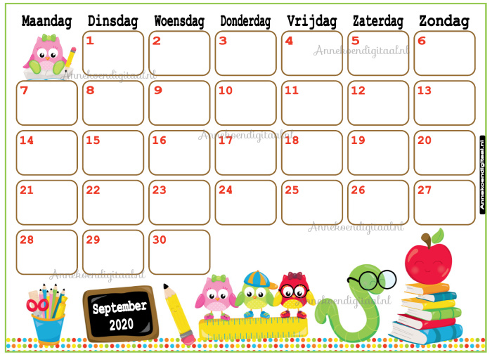 September 2020 kalender serie Kawaii
