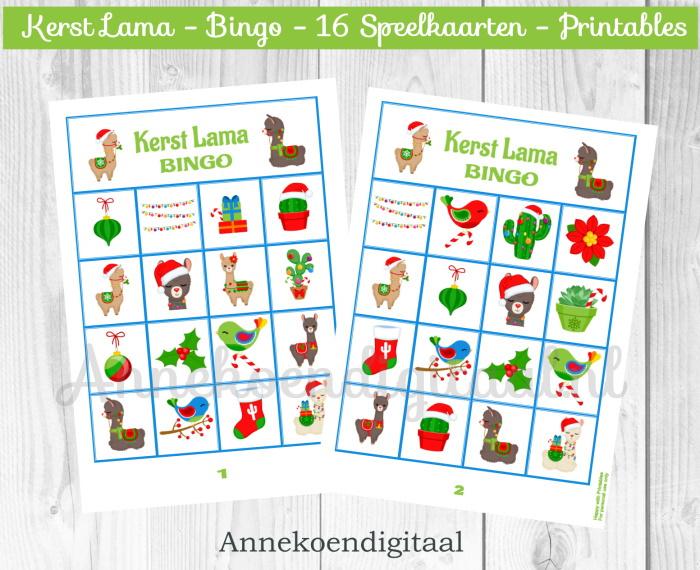 Kerst Lama Bingo spel