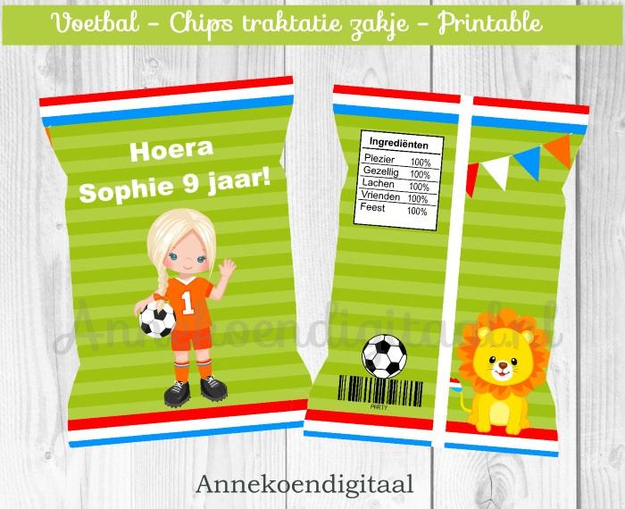 Voetbal meisje chips traktatie zakje (1)