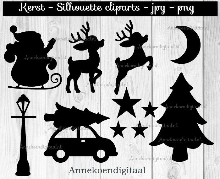 Kerst silhouette cliparts