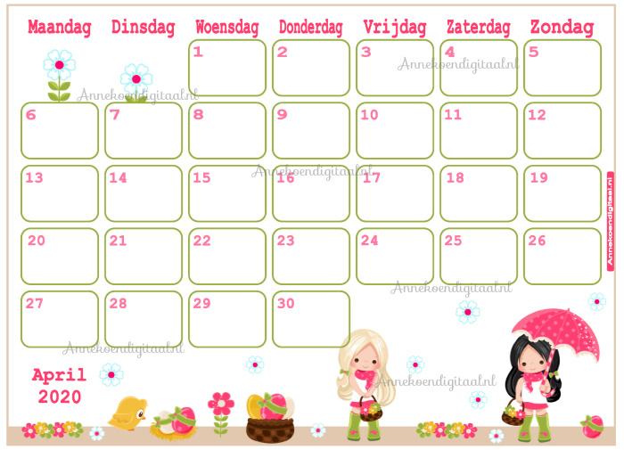 April 2020 kalender serie Meisjes