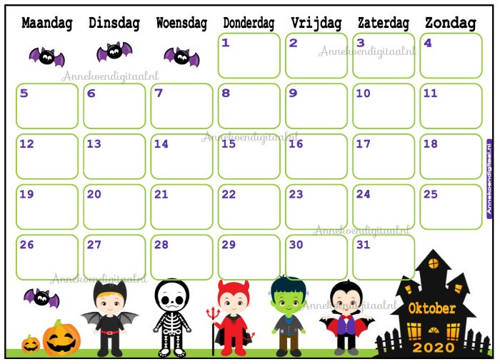 Oktober 2020 kalender serie Jongens