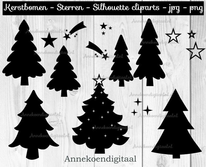 Kerstbomen en sterren silhouette cliparts