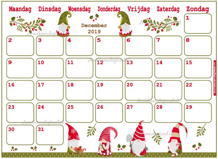 December 2019 kalender serie Mix en Match