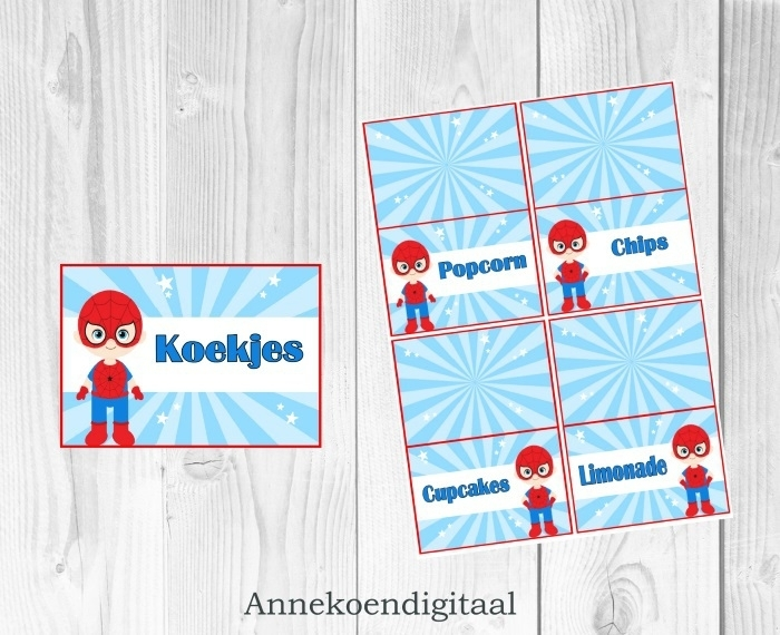Superheld Spiderman Tafel kaartjes