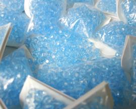 Kunststof facet 8 mm. 100 stuks lichtblauw
